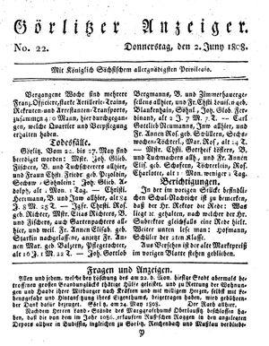 Görlitzer Anzeiger vom 02.06.1808