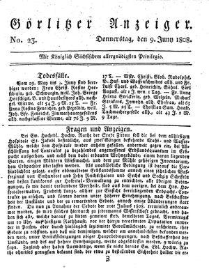 Görlitzer Anzeiger vom 09.06.1808