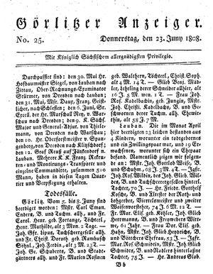 Görlitzer Anzeiger vom 23.06.1808