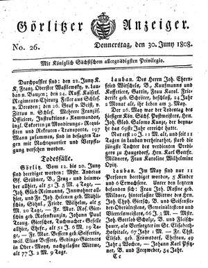 Görlitzer Anzeiger vom 30.06.1808