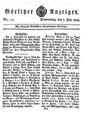 Görlitzer Anzeiger vom 07.07.1808