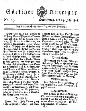 Görlitzer Anzeiger vom 14.07.1808