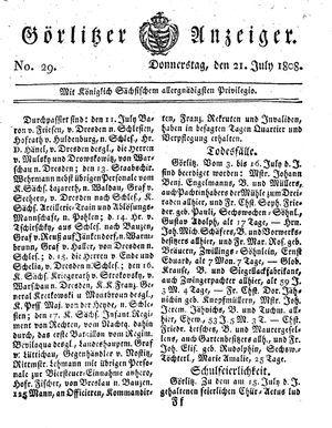 Görlitzer Anzeiger vom 21.07.1808