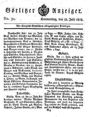 Görlitzer Anzeiger vom 28.07.1808