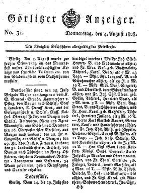 Görlitzer Anzeiger vom 04.08.1808