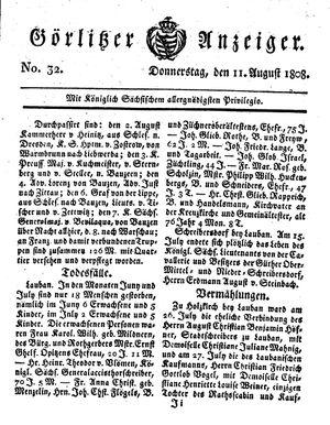 Görlitzer Anzeiger vom 11.08.1808