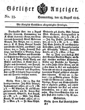 Görlitzer Anzeiger vom 18.08.1808