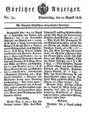 Görlitzer Anzeiger vom 25.08.1808