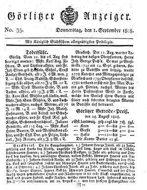 Görlitzer Anzeiger vom 01.09.1808