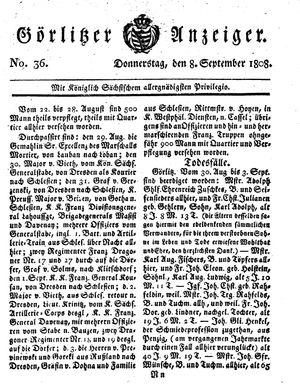 Görlitzer Anzeiger vom 08.09.1808