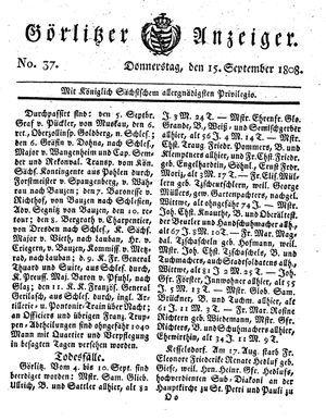Görlitzer Anzeiger vom 15.09.1808