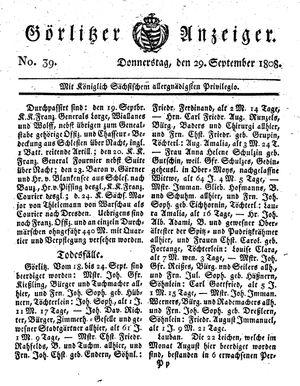 Görlitzer Anzeiger vom 29.09.1808