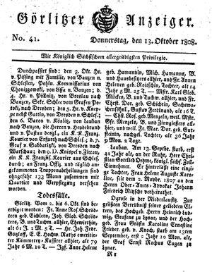Görlitzer Anzeiger vom 13.10.1808