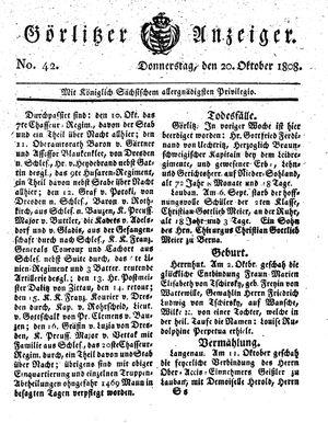 Görlitzer Anzeiger vom 20.10.1808