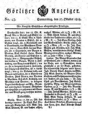 Görlitzer Anzeiger vom 27.10.1808