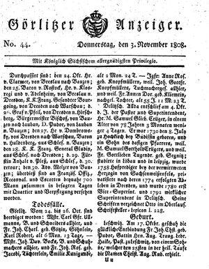 Görlitzer Anzeiger vom 03.11.1808