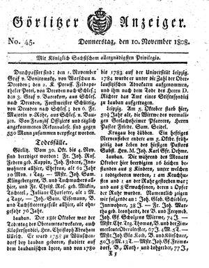Görlitzer Anzeiger vom 10.11.1808