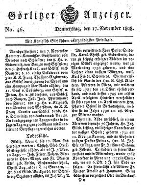 Görlitzer Anzeiger vom 17.11.1808