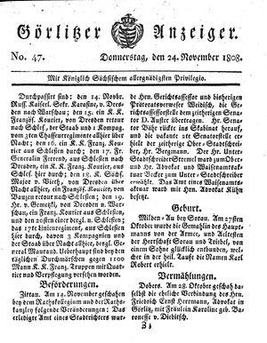 Görlitzer Anzeiger on Nov 24, 1808