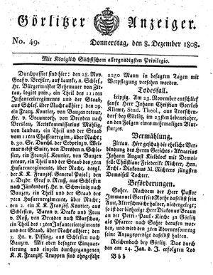 Görlitzer Anzeiger vom 08.12.1808