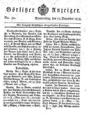 Görlitzer Anzeiger vom 15.12.1808