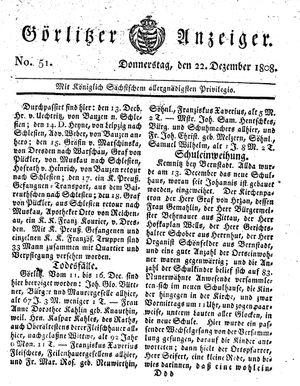 Görlitzer Anzeiger vom 22.12.1808