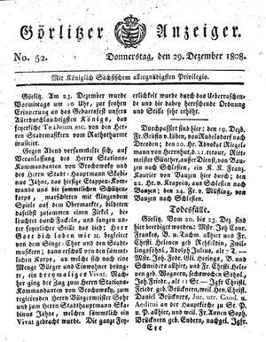 Görlitzer Anzeiger vom 29.12.1808