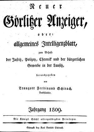 Görlitzer Anzeiger vom 01.01.1809