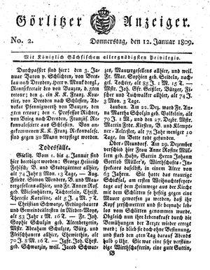 Görlitzer Anzeiger vom 12.01.1809