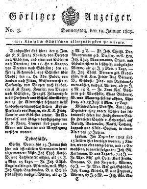 Görlitzer Anzeiger vom 19.01.1809