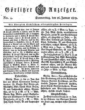 Görlitzer Anzeiger vom 26.01.1809
