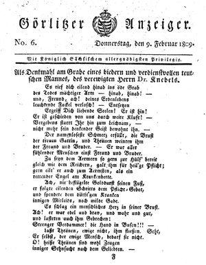 Görlitzer Anzeiger vom 09.02.1809
