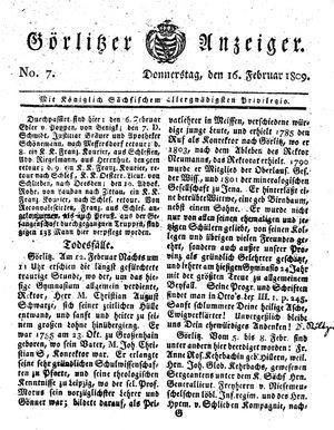 Görlitzer Anzeiger vom 16.02.1809