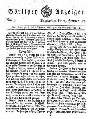 Görlitzer Anzeiger vom 23.02.1809