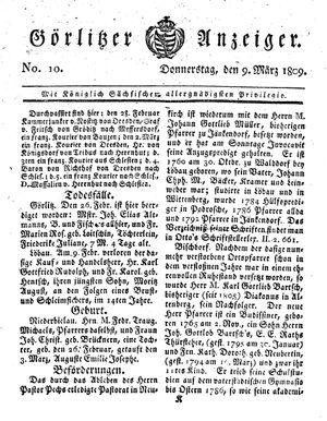 Görlitzer Anzeiger vom 09.03.1809