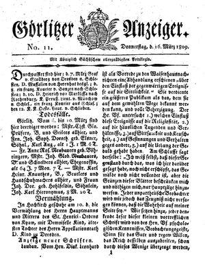 Görlitzer Anzeiger vom 16.03.1809