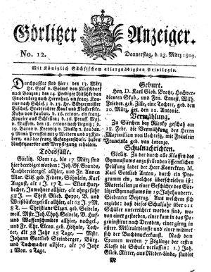Görlitzer Anzeiger vom 23.03.1809