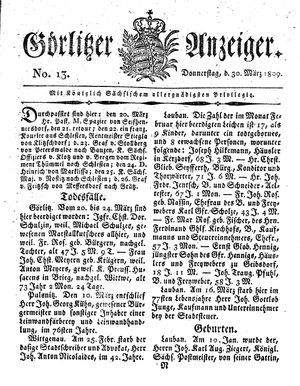Görlitzer Anzeiger vom 30.03.1809