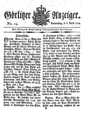 Görlitzer Anzeiger vom 06.04.1809