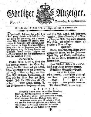 Görlitzer Anzeiger vom 13.04.1809