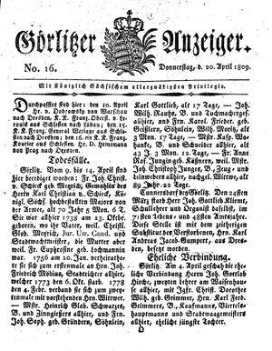 Görlitzer Anzeiger on Apr 20, 1809