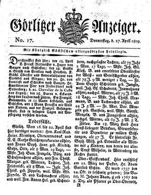 Görlitzer Anzeiger vom 27.04.1809