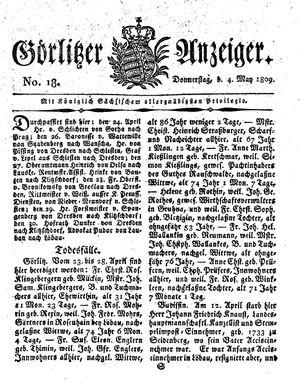 Görlitzer Anzeiger vom 04.05.1809