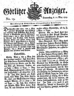 Görlitzer Anzeiger vom 11.05.1809