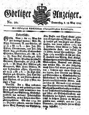 Görlitzer Anzeiger vom 18.05.1809