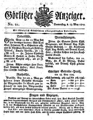 Görlitzer Anzeiger vom 25.05.1809