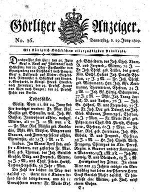 Görlitzer Anzeiger vom 29.06.1809