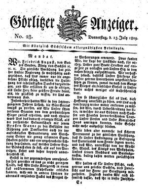 Görlitzer Anzeiger vom 13.07.1809