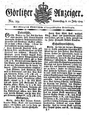 Görlitzer Anzeiger vom 20.07.1809