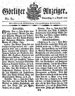 Görlitzer Anzeiger vom 03.08.1809